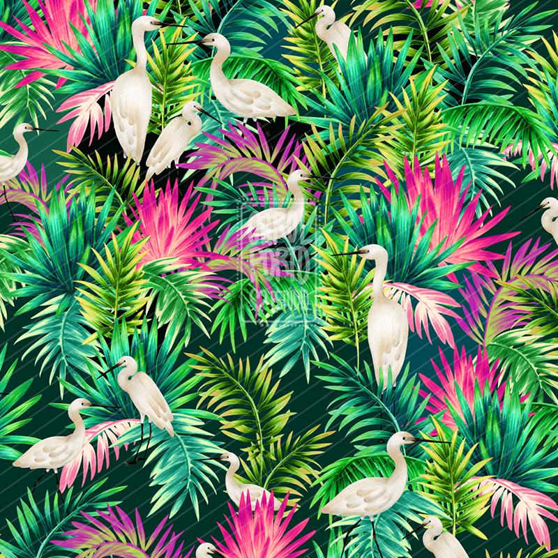 Estampa Tropical Garças